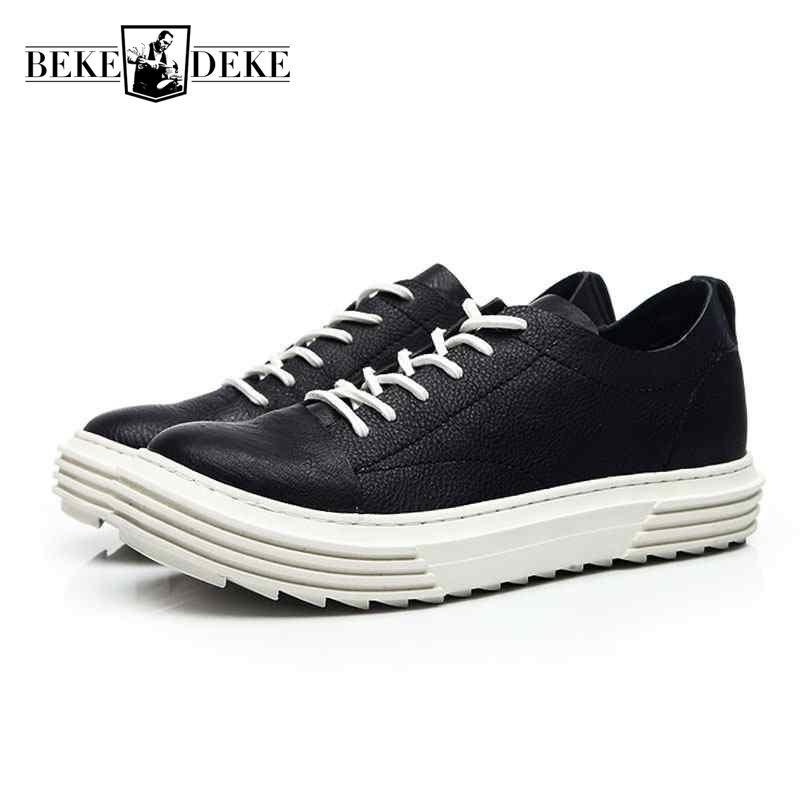 2018 New Men Red Shoes Basic Luxury Trainers Genuine Leather Men Boots Casual Spring Brand Sneaker Lace Up Flats Black Shoes the spring and summer men casual shoes men leather lace shoes soled breathable sneaker lightweight british black shoes men