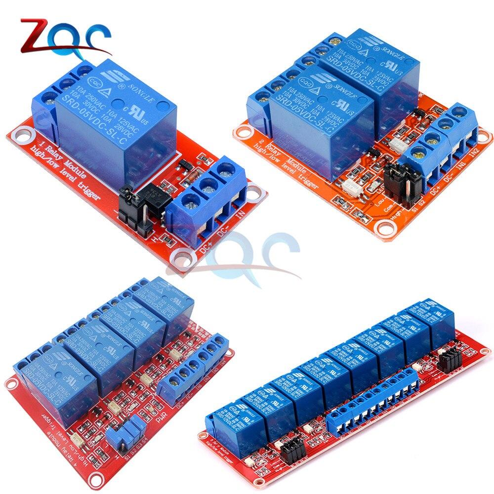 1 2 4 8 канальный DC 5V релейный модуль щит с опора для оптопары высокий и низкий уровень триггера питания плата для Arduino