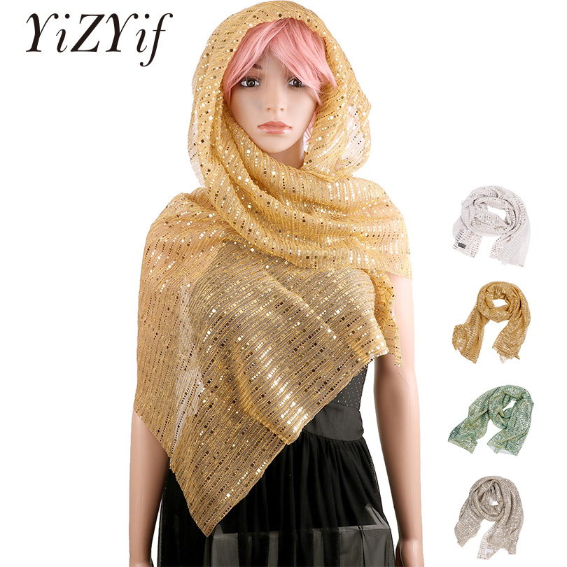 YiZYiF Women Scarf Sheer Glitter Scarf Shawl Wrap Wedding Bridal Evening Party Dresses Winter Scarf For Women Fashion