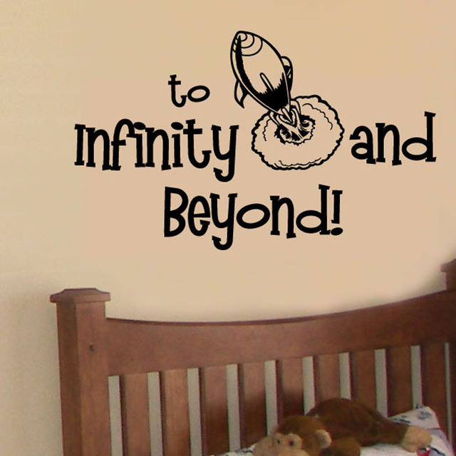 Zooyoo rocket space wall sticker to infinity and beyond wall decals home decor kids room bedroom