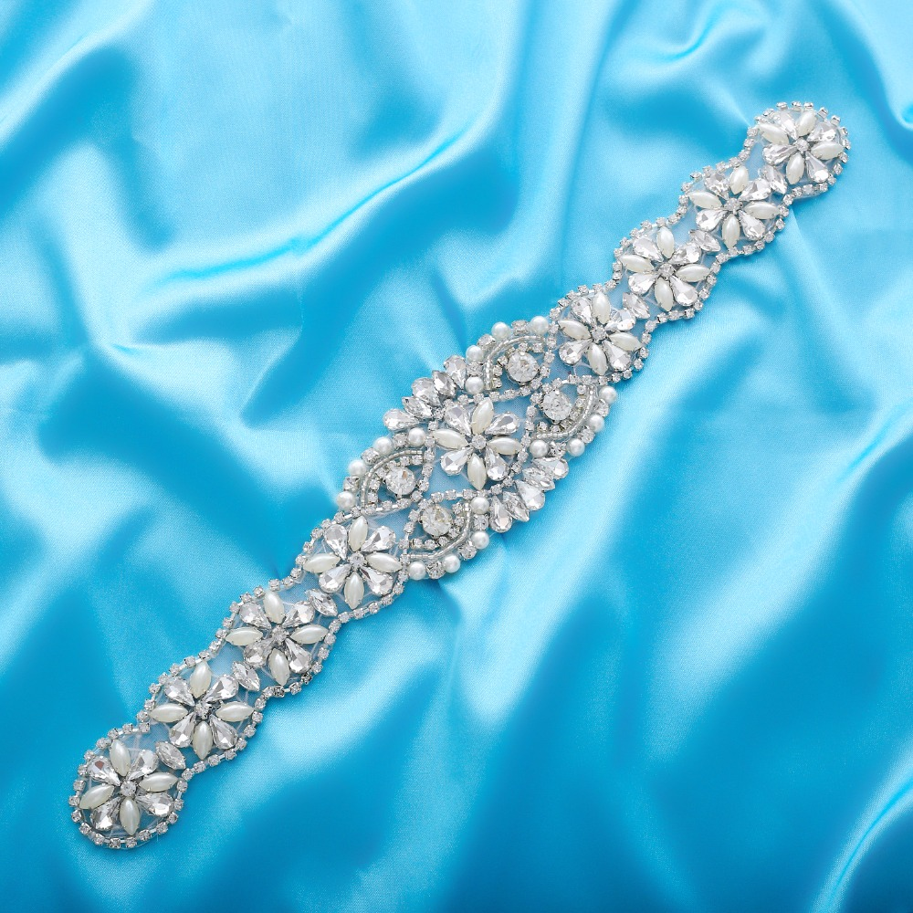 Crystal Wedding Belt Pearl Bridal Belt Rhinestones Sash For Bridal Accessories Silver Gold and Rose Gold Only Applique NZUK(China)