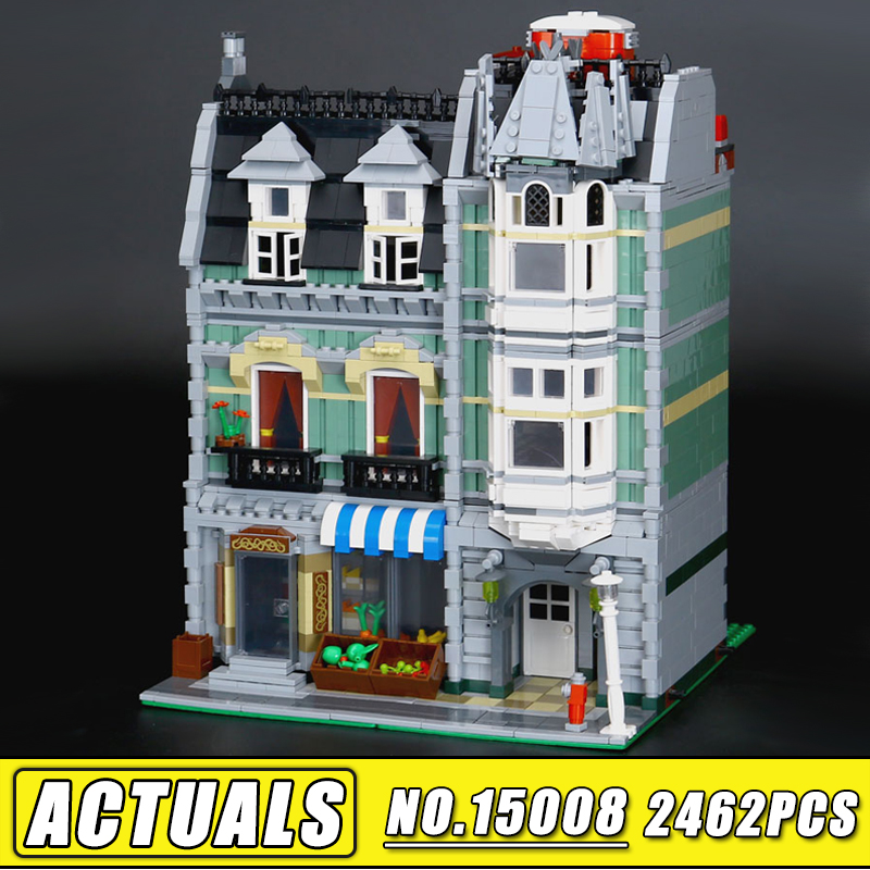 New Lepin 15008 2462Pcs City Series Green Grocer Model Building Blocks Bricks Compatible 10185 Children Educational toys lepin 15008 2462pcs city street green grocer legoingly model sets 10185 building nano blocks bricks toys for kids boys