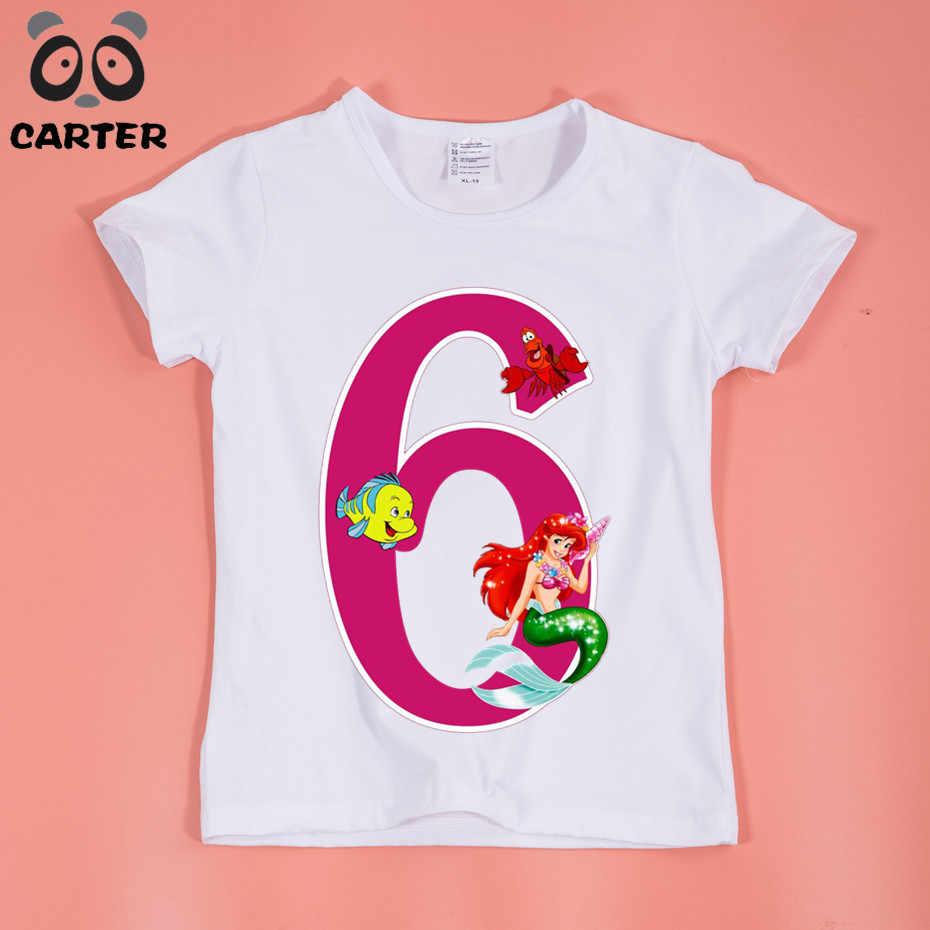 4f1b16cdc ... Niña sirena princesa número diseño divertido camisetas personalizadas  peces Bebé Ropa de niño y niña Regalo ...