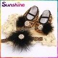 Leopardo do vintage sapatos booties sapatinhos de bebê menina bebes zapatillas; sapatos da cópia da chita infantil headband set #2B1916 3 set/lote