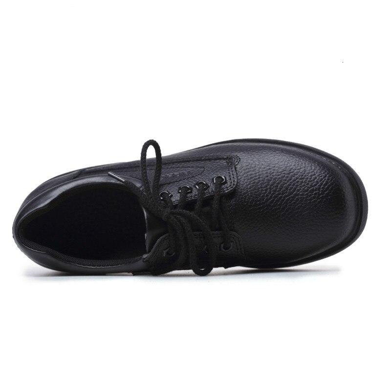 Nuevos zapatos de cocina de cuero genuino para Hombre Zapatos de cocina de Chef con punta de acero Anti kick trabajo de seguridad zapatos a prueba de agua-in Zapatos informales de hombre from zapatos    3