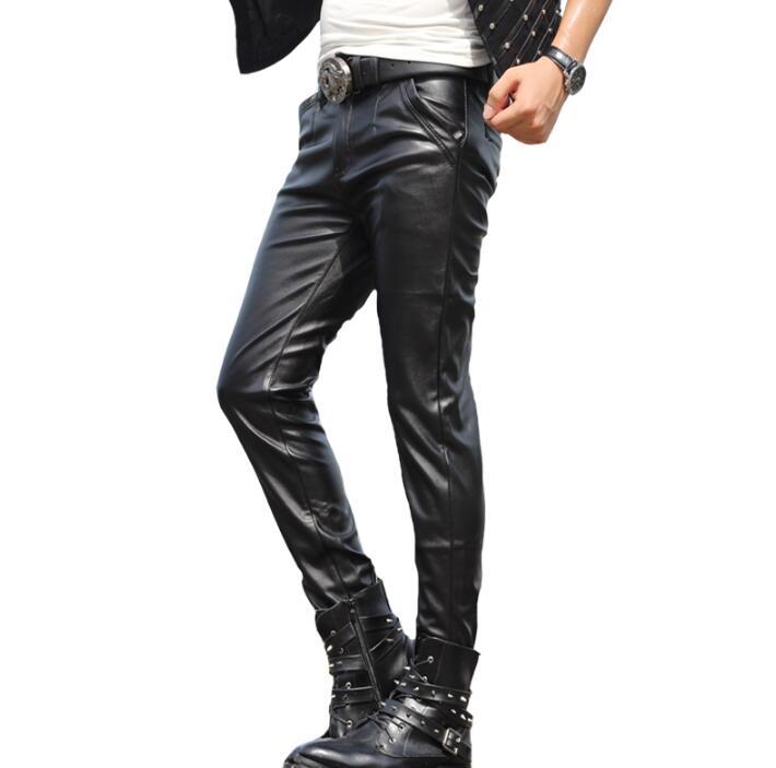 Warme Faux Leder Schwarz Schwarzes Persönlichkeit Mode Hose Männer Mens Füße Hosen Pu Winddicht Herbst Winter Motorrad 219 Für HqZfRf