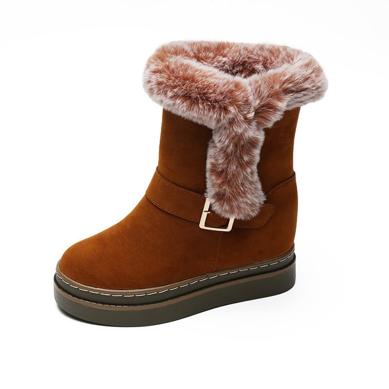 Stivali Inverno brown Peluche Caldo Piattaforma Bota Collare Del Donne Neve  Inferiore Spessore Pelle Scamosciata Della ... 4e65ecf987f