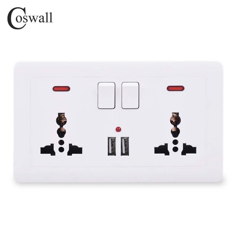 Coswall Wall Power Socket 2 Gang Universal 3 Hole Switched Outlet With Neon 2.1A Dual USB Charger Port LED Indicator 146mm*86mm