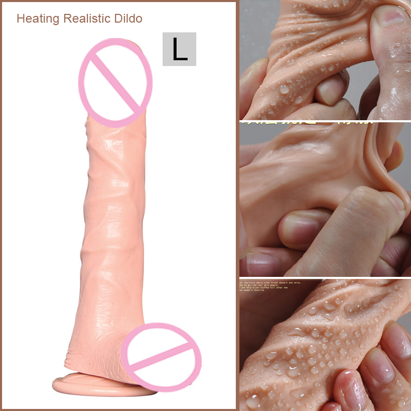 Huge Heating Dildo Realistic Vibrator Heated Big Penis Silicone Adult Sex Toys For Woman Sex Products Shop Juguetes Sexuales electric heating penis silicone realistic big dildo vibrator sex toys for woman lifelike huge dick foreskin usb charging