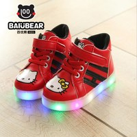 New 2017 Cool LED Lighted Kids Shoes Fashion Spring Autumn Boys Girls Child KT Sneakers Lovely