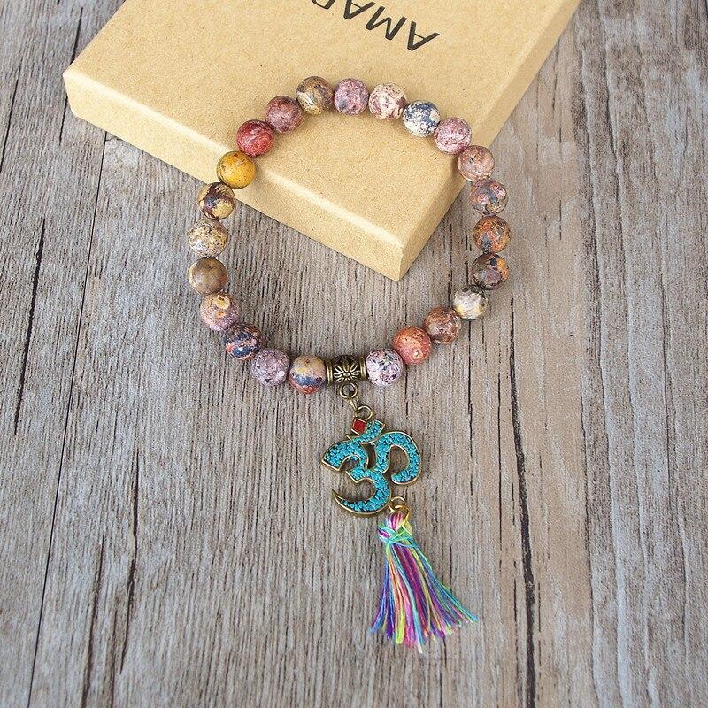 Handmade Tibetan Buddhism Natural Stone Chakra Mala Bracelet Tassel Om Beaded Strand Bracelet for Women Men