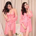 New High-grade silk Women Robe Set sexy pajamas Lace thin sleepwear temptation Sexy underwear (bathrobe + sling +T-Back)
