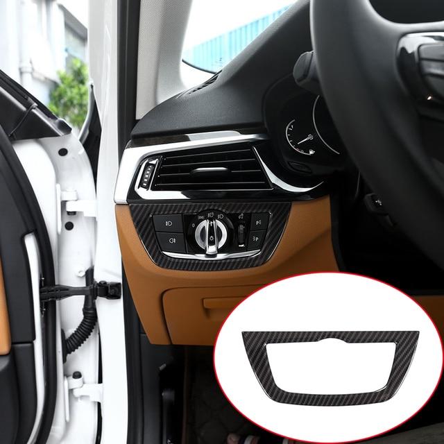 Carbon fiber For BMW 5 Series G30 528li 530li 2018 Car-Styling ABS Chrome Headlight Frame Trim Car Accessories 1pc
