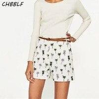 Summer European Style Palm Tree Print Bermuda Shorts Casual High Waist Shorts Ladies Short Xsz1116