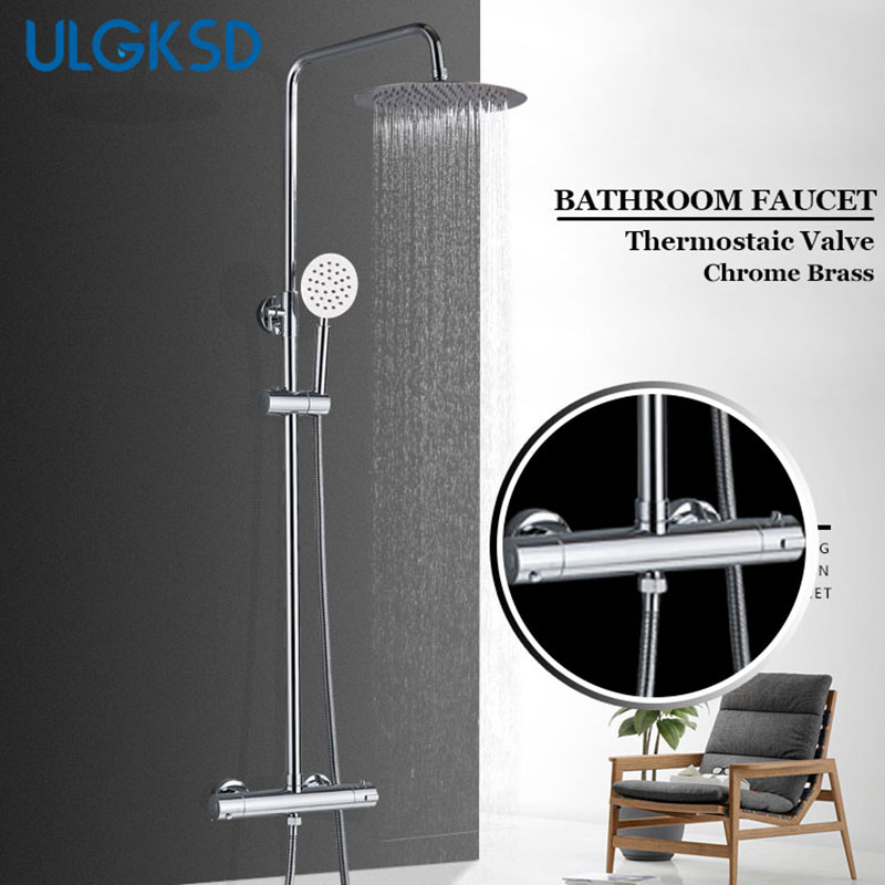 ULGKSD Chrome Thermostatic Shower Faucets Set Bathtub Faucets Hot Cold Mixer Tap Dual Handles Mixer Tap Bath Shower Faucet Tap everso bathroom shower faucet thermostatic faucet dual handles thermostatic mixer valve bathtub faucets