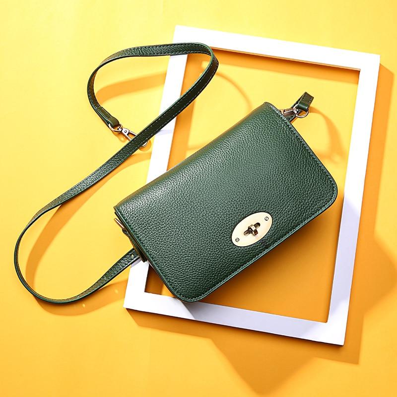 2019 New Women's Bag Fashion Simple Suede Leather Messenger Bag Metal Lock Cowhide Shoulder Bag Ladies Wild Small Square Bag