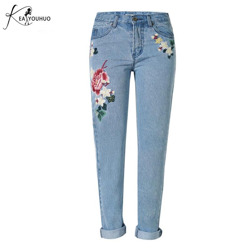 Mom Jeans Pantalon Femme Brand Femme Jeans con bordado Flower Denim - Ropa de mujer