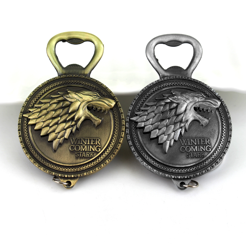 RJ Fashion Game Of Thrones Bottle Opener Beer Keychain High Quality House Stark Winter Is Coming Wolf Logo Metal Keyring For Men