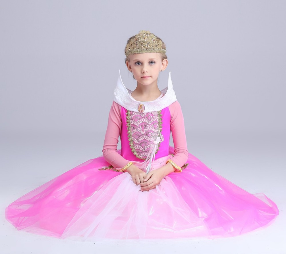 Christmas Gift Fairy Princess Sleeping Beauty Aurora Ball Gown Dresses For Girls Kids Party Wear Tulle Carnival Cosplay Costumes girls sleeping beauty princess cosplay party dresses children long sleeve aurora costume clothing kids tutu dress for christmas