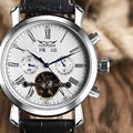Luxury Mechanical Automatic Brand Watch Leather Strap Date Day AUTO Flywheel Tourbillon Mens Wristwatch Relogio Gift