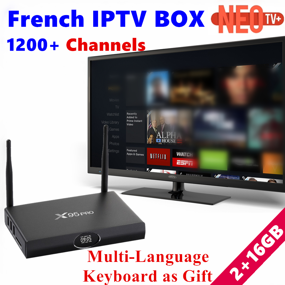 X95PRO Android tv box with 1 Year 1200+Arabic French Belgium IPTV Box S905X 16G rom Europe IPTV Subscription box Smart TV Box french iptv h96 pro belgium netherlands luxembourg europe iptv iptv s912 octa core 3g ram 32g gb rom android 6 0 tv box