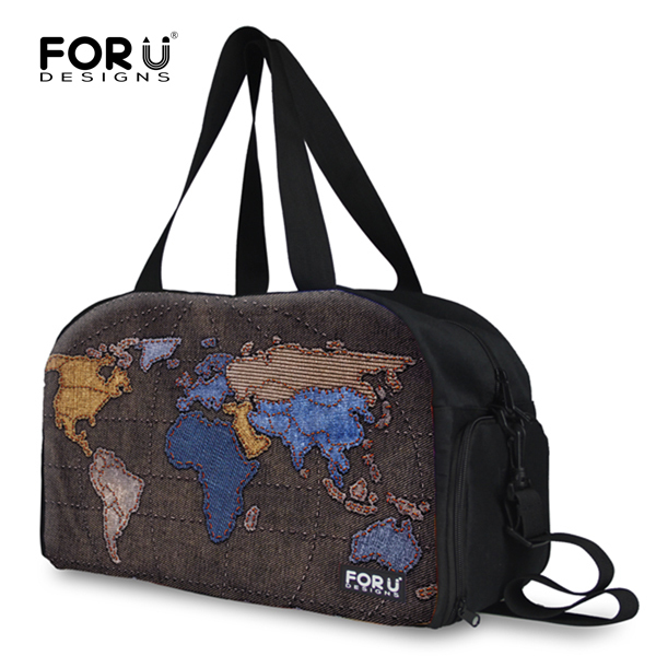 FORUDESIGNS Brand Map Prints Leisure Waterproof Men Travel Bag Big Capacity  Demin Woman Shoulder Travel Duffle bag Free Shipping 32d17e5adf16a
