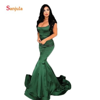 Dark Green Satin Evening Dresses Mermaid Simple Long Evening Gowns Spaghetti Straps Open Back Pageant Party Gowns for Women D994