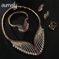 OUMEILY Fashion Jewelry Sets Womens Accessories luxury Big Nigerian Jewelry Set For Women African Dubai Wedding Jewellery Set