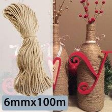 4bfcd44c9dff KIWARM 6 мм x 100 м сизаль веревки джутовый шпагат веревка натуральный  пеньковый шнур декор кошка животное царапать домашнее Иск..