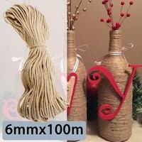 KIWARM 6mmx100m Sisal Ropes Jute Twine Rope Natural Hemp Cord Decor Cat Pet Scratching Home Art Decor