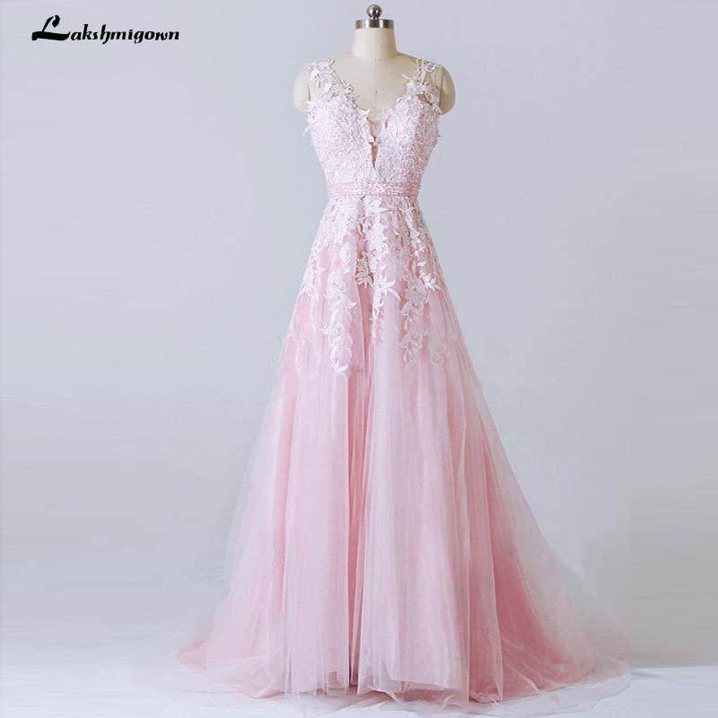 Pink Wedding Dresses 2019: Lace Appliqued V Back V Neckline A Line Beach Wedding