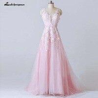 Lace Appliqued V Back V Neckline A Line Beach Wedding Dresses 2019 Pink Long Bride Dress Robe de mariie