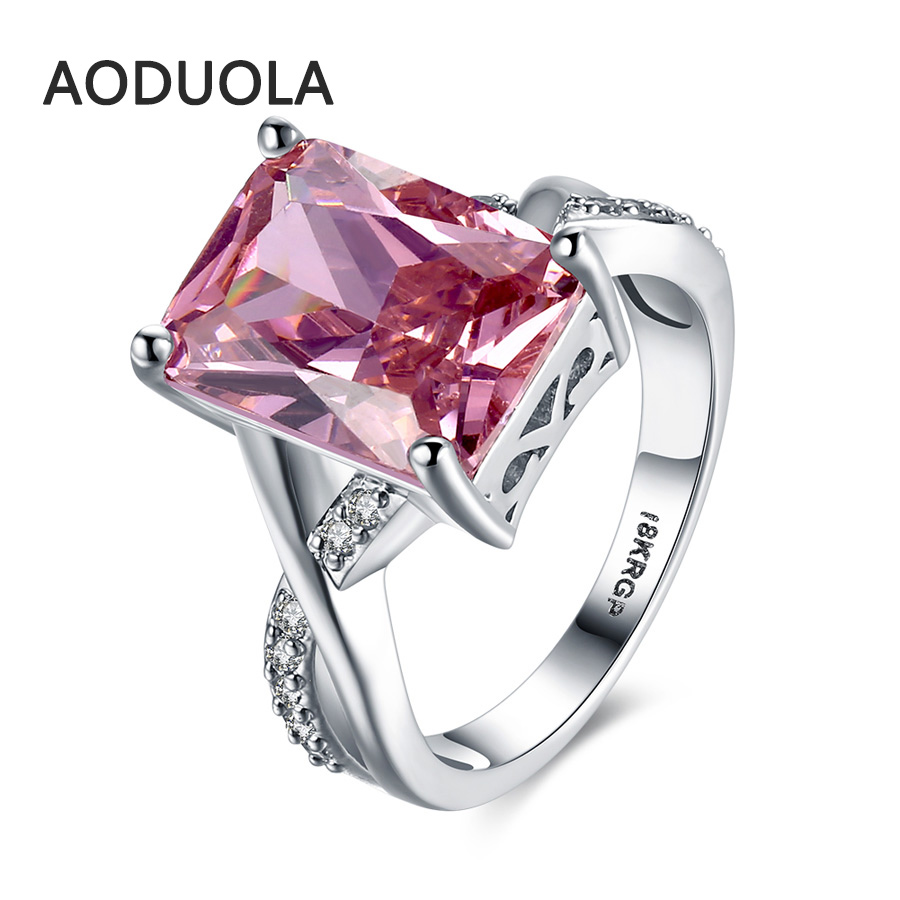 Square Ring Platinum Plated With A Pink Large Zirconia
