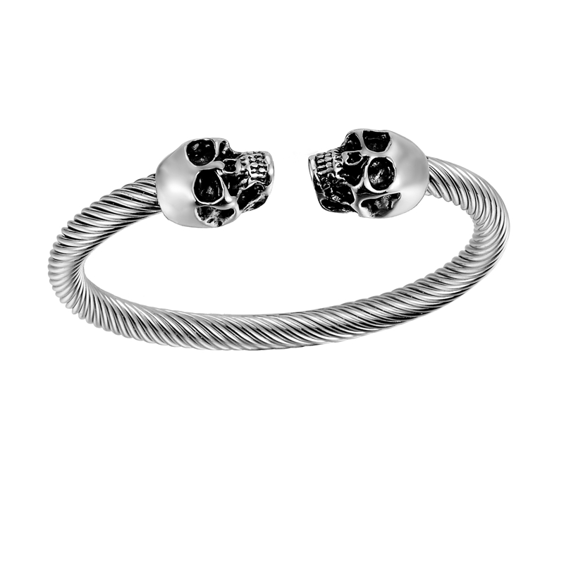 LASPERAL Stainless Steel Skull Bracelet Skeleton Men Hand Bracelet Gothic Punk Rock Style Cuff Bracelets & Bangles Fashion 1PC