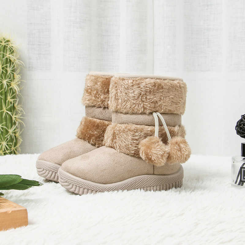 JGSHOWKITO Girls Boots Winter Kids Shoes Warm Cotton Plush Inside Children Snow Boots Anti-slippery Fur Ball Pendant Cute Boots