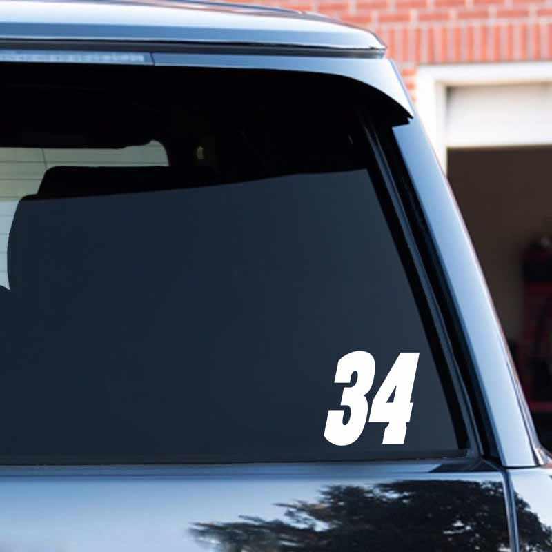 13*13 سنتيمتر مثيرة للاهتمام رقم 34 الفينيل سيارة ملصق دراجة نارية الشارات صورة ظلية أسود/أبيض ل هولدن شيفروليه أبارث مازدا أوبل