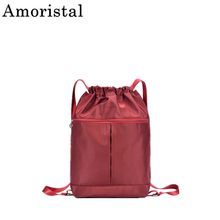 Drawstring Women Backpack Nylon Waterproof Lightweight Folding Outdoor Sport Backpack Fitness Bag Yoga Zipper Sack Large SY121