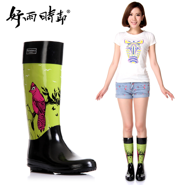 Aliexpress.com : Buy New women knee high rubber boots rain boots ...