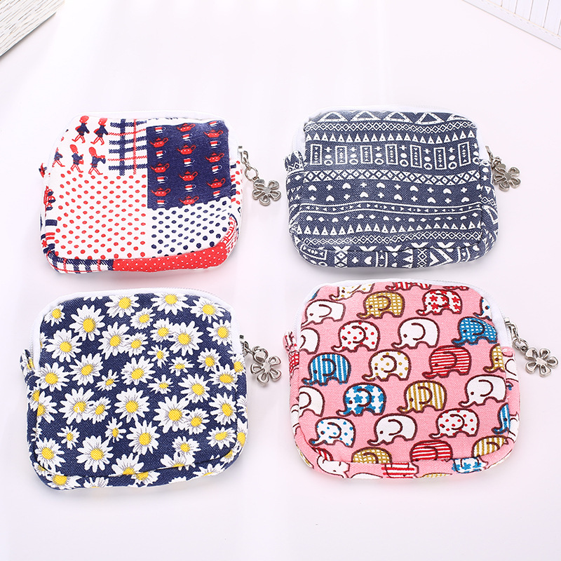 Fresh style cute flowers female purse large capacity girls sanitary napkin coins organizer bag pouch coin purses women wallet dn19 manual sanitary aseptic sampling valve