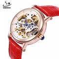 2017 New Fashion Skeleton Watches Women Famous Brand SHENHUA Automatic Mechanical Watch Women Ladies Casual Wristwatch Leather