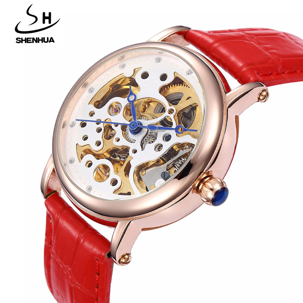 New Skeleton Watches Women Famous Brand SHENHUA Automatic Self Wind Mechanical Watches For Women Ladies Rose Gold Watch Leather все цены