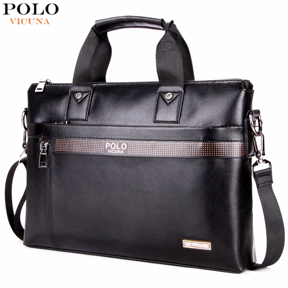 VICUNA POLO Business Solid Color Men Briefcases Luxury Brand Mens Laptop Bag Fashion Large Male Shoulder Bags bolsa masculina