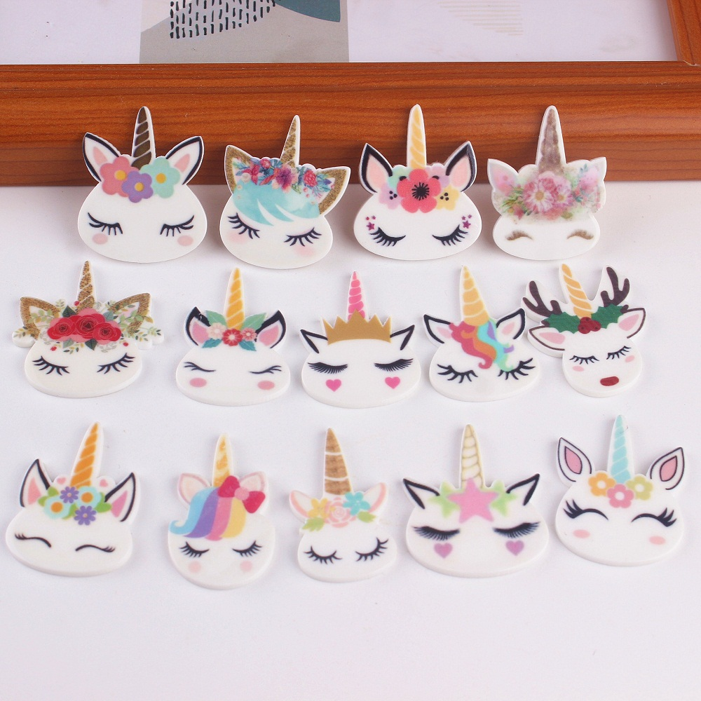 Resin Charms Rainbow Unicorn Head Charm DIY Accessories For Cake Mobile Phone Shell Decoration Unicorn Resin Charms