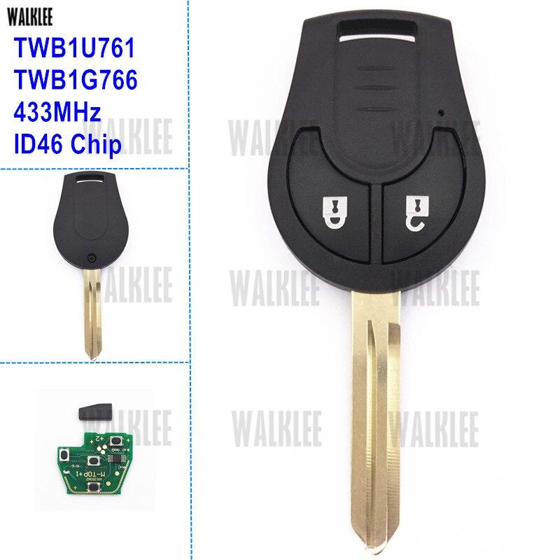 WALKLEE Remote Key Fit for Nissan 433MHz for Note March Qashqai Sunny Sylphy Tiida X-Trail TWB1U761 TWB1G766