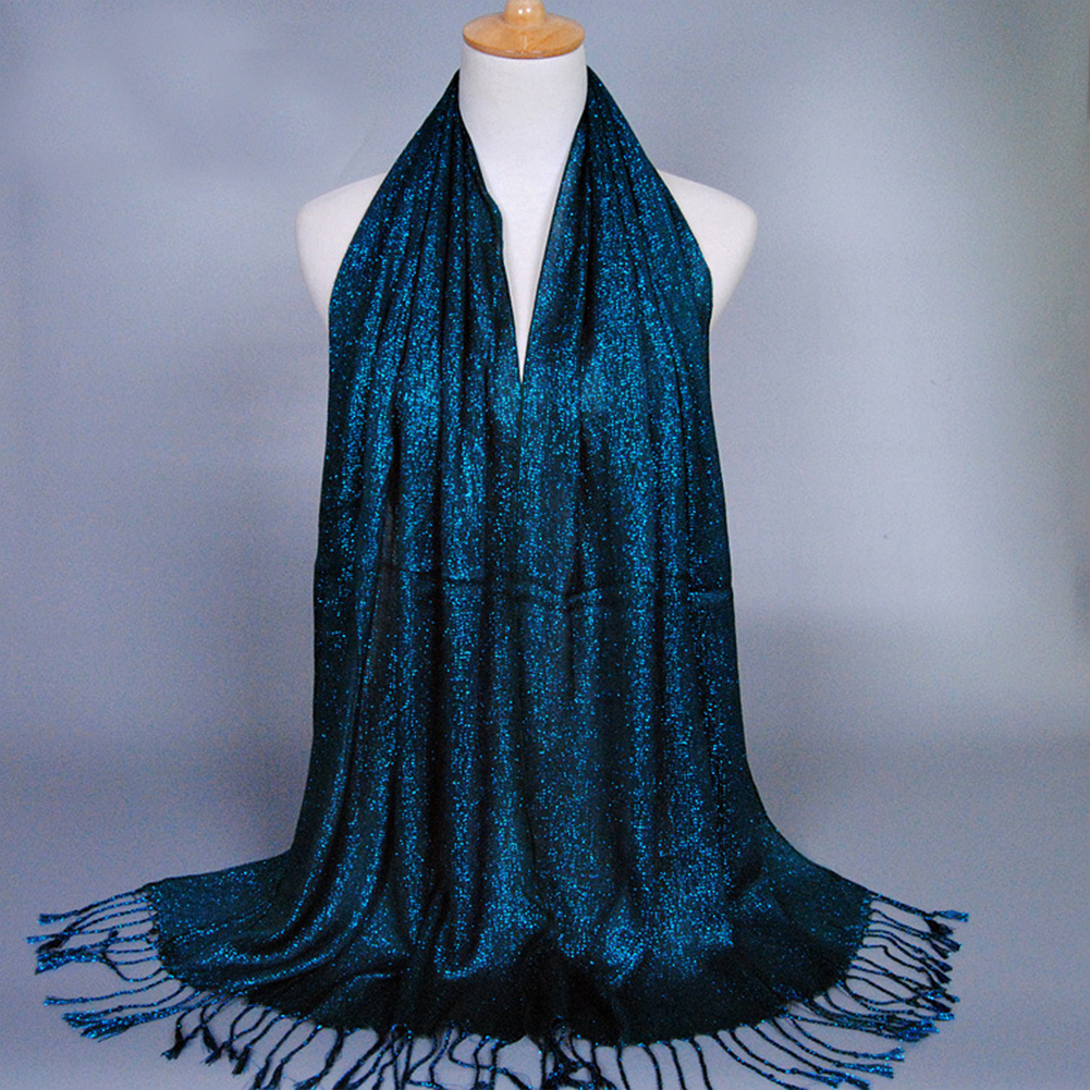 Glitter Womens Cotton Tassel Long Hijab Pashmina Shawl   Scarf   Stole   Wrap   Shiny