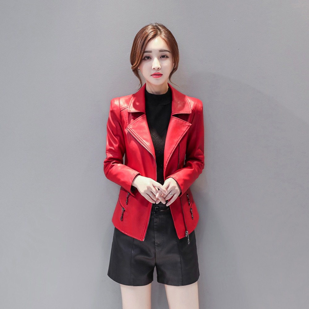 New Fashion Female Jacket Coat Women   Leather   Jackets Office Lady Plus Size Turn-down Collar Solid Zipper Pockets Faux PU Coat
