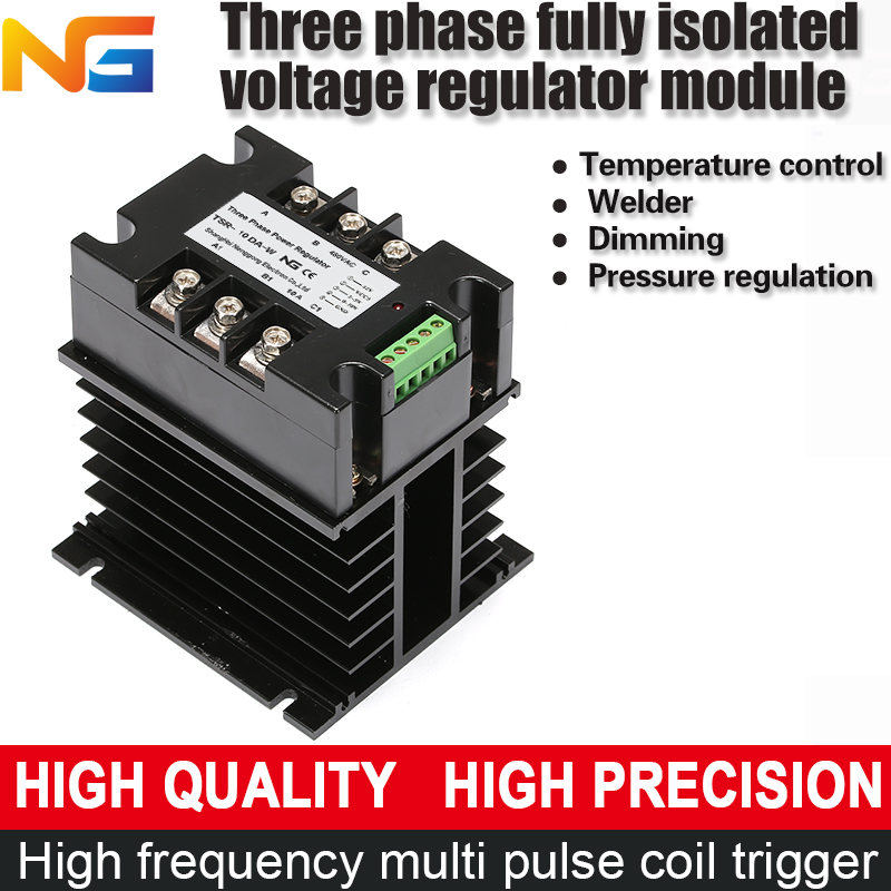 цена на Three phase voltage regulator module isolating 10A thyristor power control heating with radiator and fan shanghai nenggong