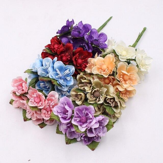 6pcs Silk Sakura Artificial Poppy Flower Bouquet Wedding Home ...