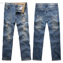 Mens Jeans 2016 US SIZE Mid Waist Full Length Solid Fashion Ripped Jean Whisker Denim Washed Pants For Men