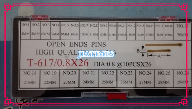 Free Shipping 260pcs 0.8mm Diameter High Quality Stainless Steel Open Ends Pins from Size 4mm to 29mm